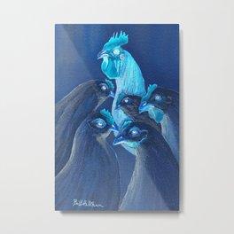 Henpecked In Blue Metal Print
