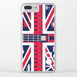 Vintage Union Jack UK Flag with London Decoration Clear iPhone Case