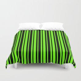 Bright Green and Black Vertical Var Size Stripes Duvet Cover