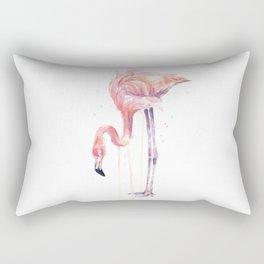 Flamingo Watercolor Painting Pink Tropical Birds Facing Left Rectangular Pillow