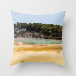 Wai-O-Tapu Geothermal, New Zealand Travel Artwork Throw Pillow