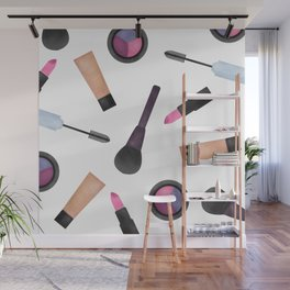 Scattered Makeup Pattern Wall Mural