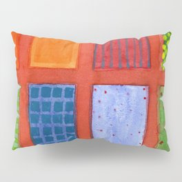 Large rectangle Fields between red Grid Pillow Sham