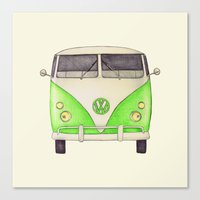 volkswagon Canvas Prints featuring VW Type 2 by One Curious Chip
