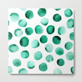 Watercolor Dots // Emerald Metal Print