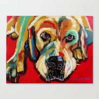 lab Canvas Prints featuring Yellow Lab by Juliette Caron