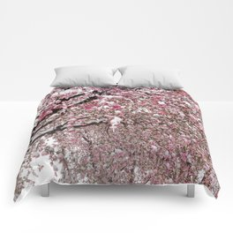 Elegant pink white nature snow cherry blossom floral Comforters