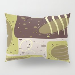Mid Century Modern Abstract Print Geometric Circles and Rectangles Green and Brown Pillow Sham
