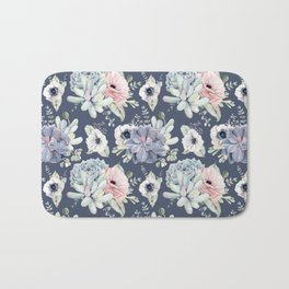 Beautiful Succulent Garden Navy Blue + Pink Bath Mat