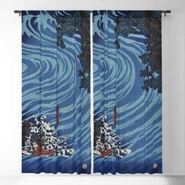 Gentoku Uma o Odorashite Tankei o Koeru zu by Utagawa Kuniyoshi (1798-1861), a woodcut triptychs of the warlord Liu Bei (Xuande) crossing the Caoqi River on horseback Blackout Curtain