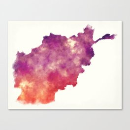 Afghanistan watercolor map in front of a white background Canvas Print