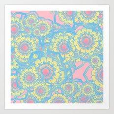 Pastel colored daisies Art Print