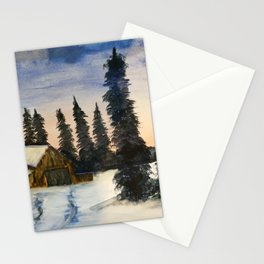 In the Midst of Winter | Bob Ross Reproduction | Watercolour Painting Stationery Cards