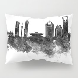 Riyadh skyline in black watercolour  Pillow Sham