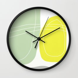 Yellow and Green Abstract Art. Scandinavian Style Decor. Minimalist Decor Wall Clock