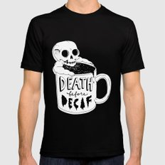 Death Before Decaf Mens Fitted Tee Black MEDIUM
