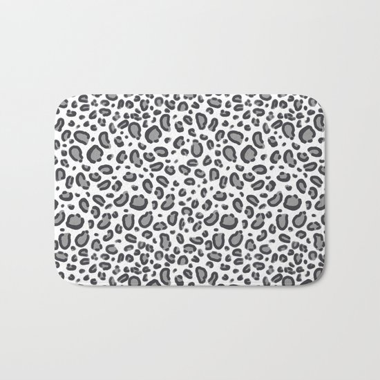 Cheetah pattern animal spots animal print pattern minimal black and white Bath Mat
