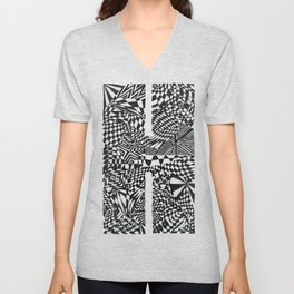 Alphabet Letter H Impact Bold Abstract Pattern (ink drawing) Unisex V-Neck