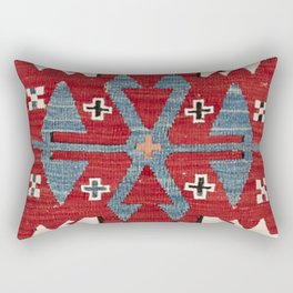 Blue Diamond Arrow Konya II // 19th Century Authentic Colorful Red Cowboy Accent Pattern Rectangular Pillow