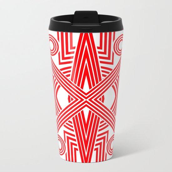 Red And White Stripes Metal Travel Mug