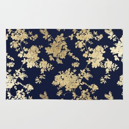 Elegant vintage navy blue faux gold flowers Rug