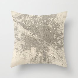 Eastern division of Paris containing the Quartiers (1834) by W B Clarke and James Shury Throw Pillow