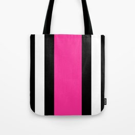 Black, White and Pink Vertical Stripes Tote Bag