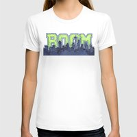 seahawks T-shirts featuring Seattle Legion of Boom Space Needle Skyline Watercolor  by Olechka