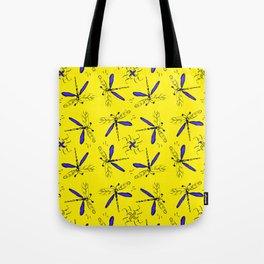 Blue Dragonflys On Gold Back Tote Bag