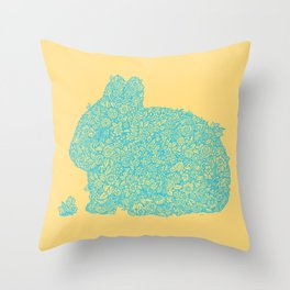 Flowers for my bunny Throw Pillow
