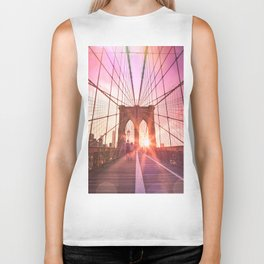 New York City Brooklyn Bridge Sunset Biker Tank