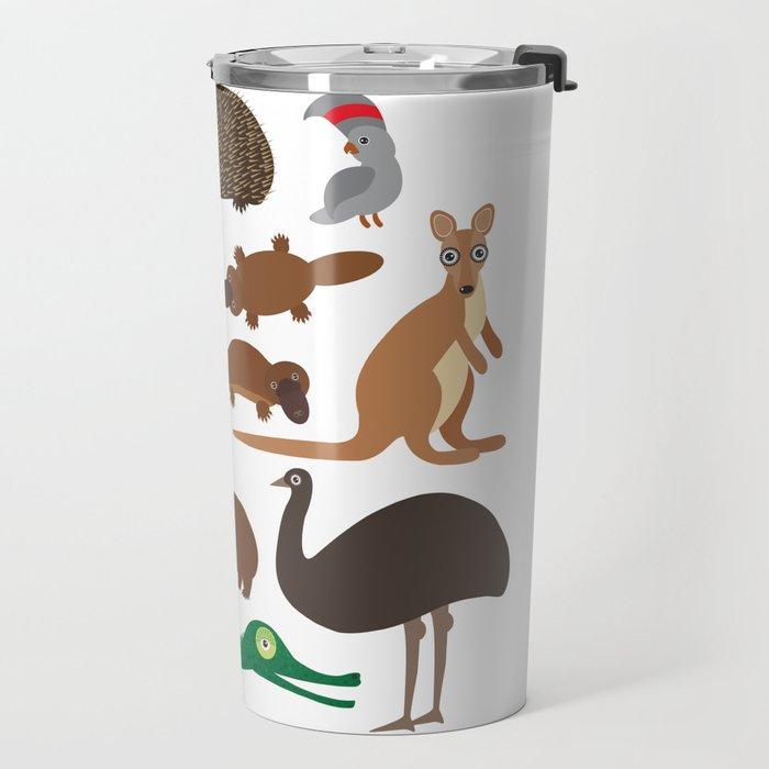 Animals Australia: Echidna Platypus ostrich Emu Tasmanian devil Cockatoo parrot Wombat crocodile Travel Mug