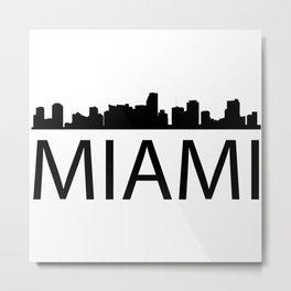 Black silhouette Miamis with word MIAMI Metal Print