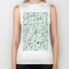 'Speckle Party' Mint Green Black White Dots Speckle Trendy Sporty Pattern Biker Tank