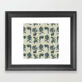 Botanical Florals | Vintage Dark Blue Framed Art Print