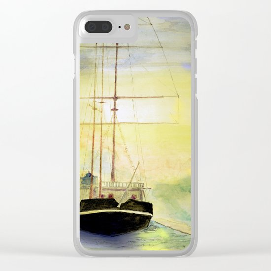 a ship at sea Clear iPhone Case