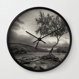 The Lonely Tree Snowdonia Wales Journey of Mountains Wall Clock