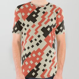 Chocktaw Geometric Square Cutout Pattern - Iron Oxide All Over Graphic Tee