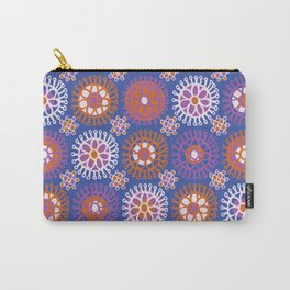 Flower Doodles Cobalt Blue, circles and flowers design Carry-All Pouch