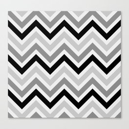 Chevron Stripes : Black Gray White Canvas Print