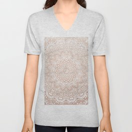 Mandala - rose gold and white marble 3 Unisex V-Neck