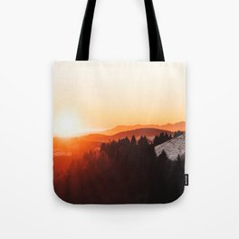 Red Orange Sunrise Parallax Mountains Pine tree Silhouette Minimalist Photo Tote Bag