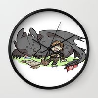 hiccup Wall Clocks featuring Sleepy Buddies by comickergirl