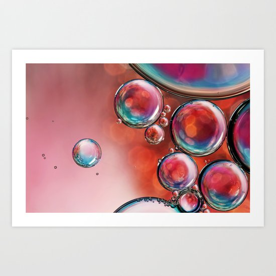 Multi-Coloured Sparkle Bubble Abstract Art Print