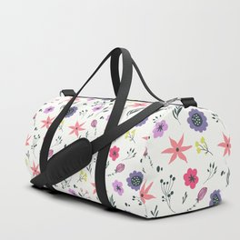 Abstract coral purple violet vector floral pattern Duffle Bag