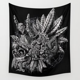 Aztec Great Lizard Warrior 1 (Triceratops) Wall Tapestry