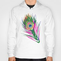 peacock feather Hoodies featuring Peacock Feather by xDiNKix