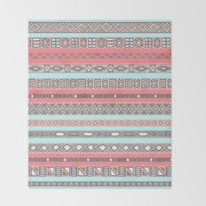 Peach Rose Baby Blue Aztec Tribal Native Pattern Throw Blanket