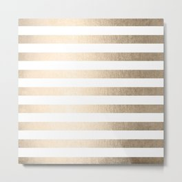 Simply Striped in White Gold Sands Metal Print