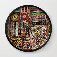 africa Wall Clocks featuring Africa by Helene Michau